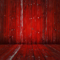 old wooden room, red background
